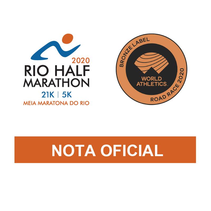 Nota Oficial 1 - Meia Maratona Internacional do Rio de Janeiro 2020 - Rio Half Marathon<