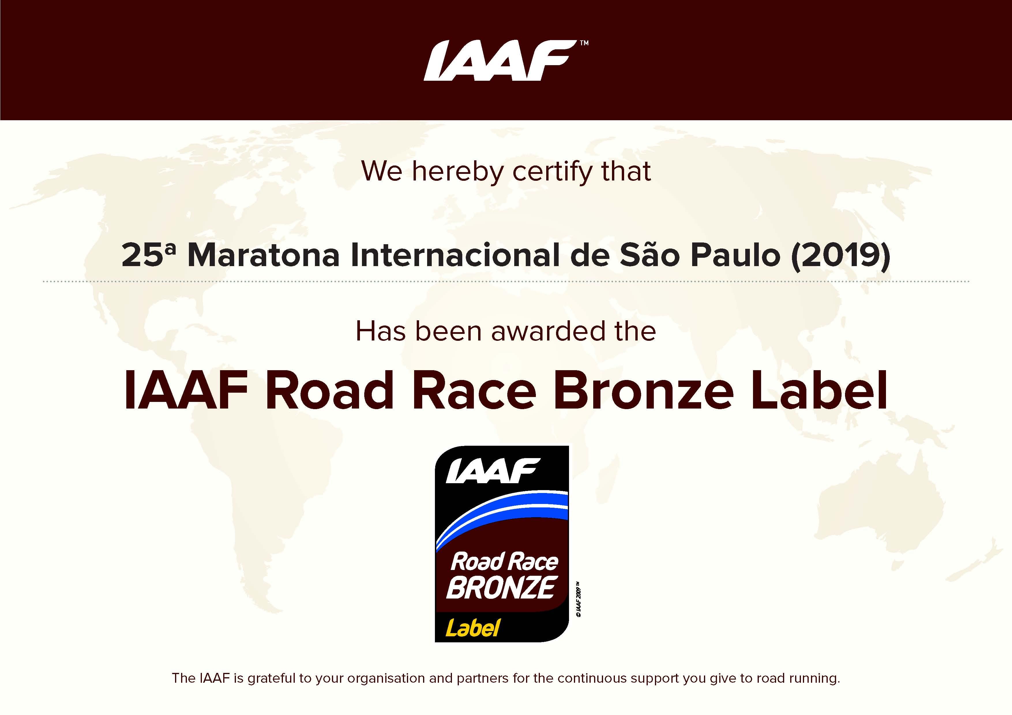 Brasil recebe 1&#170; Prova Bronze IAAF e Maratona   de S&#227;o Paulo 2019 eleva seu status<